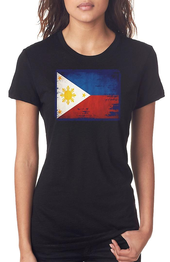 Filipino Phillipines Grunge Flag Ladies T Shirt