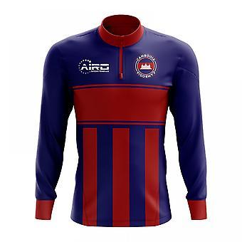 Cambodia Concept Football Half Zip Midlayer Top (Blue-Red)