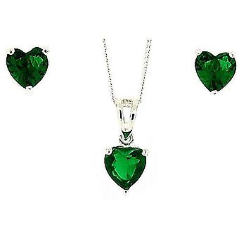 TOC Sterling Silver Green Rhinestone Heart Earrings & Pendant Necklace 18