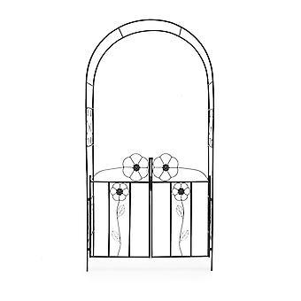 Arche arcade arceau à rosiers plante grimpante jardin noir 228 cm 2213007