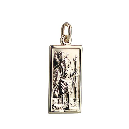9ct Gold 26x13mm rectangular St Christopher Pendant