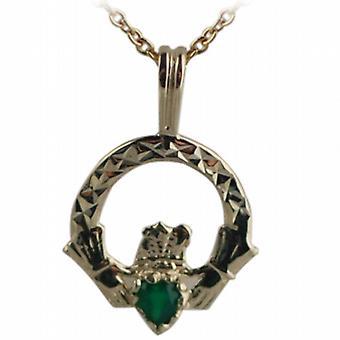 9ct Gold 20x15mm Diamantschliff grüne Achat Set Claddagh Anhänger Kabel Kette 16 Zoll nur geeignet für Kinder