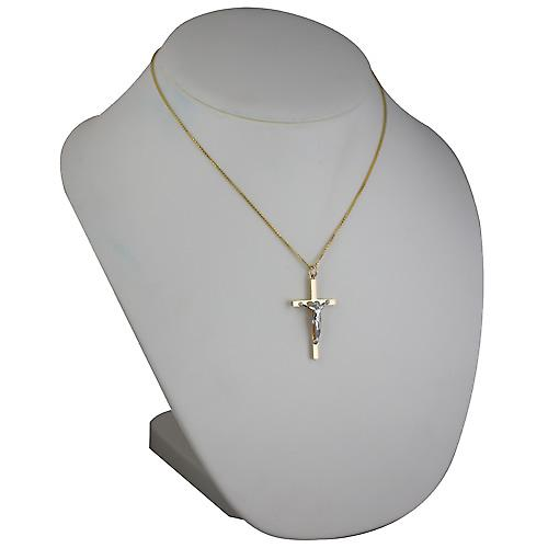 9ct Gold 40x24mm solid block Yellow Cross and White Crucifix with a spiga Chain 18 inches