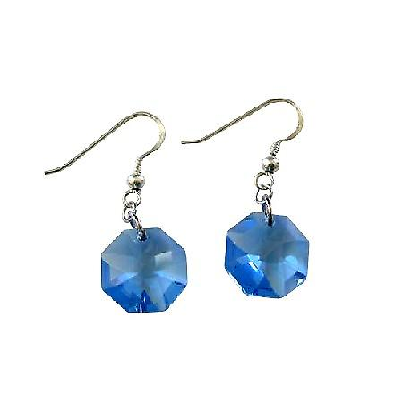 Swarovski Octagon Aquamarine 15mm Multifaceted Crystal Silver Earrings