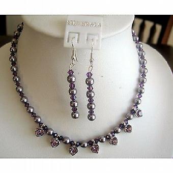 Swarovski lilla perler Amethyst krystaller hjerte vedhæng halskæde sæt