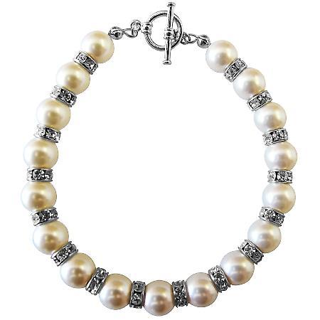 White Pearls w/ Sparkling Rondells Swarovski Bridal Bracelets