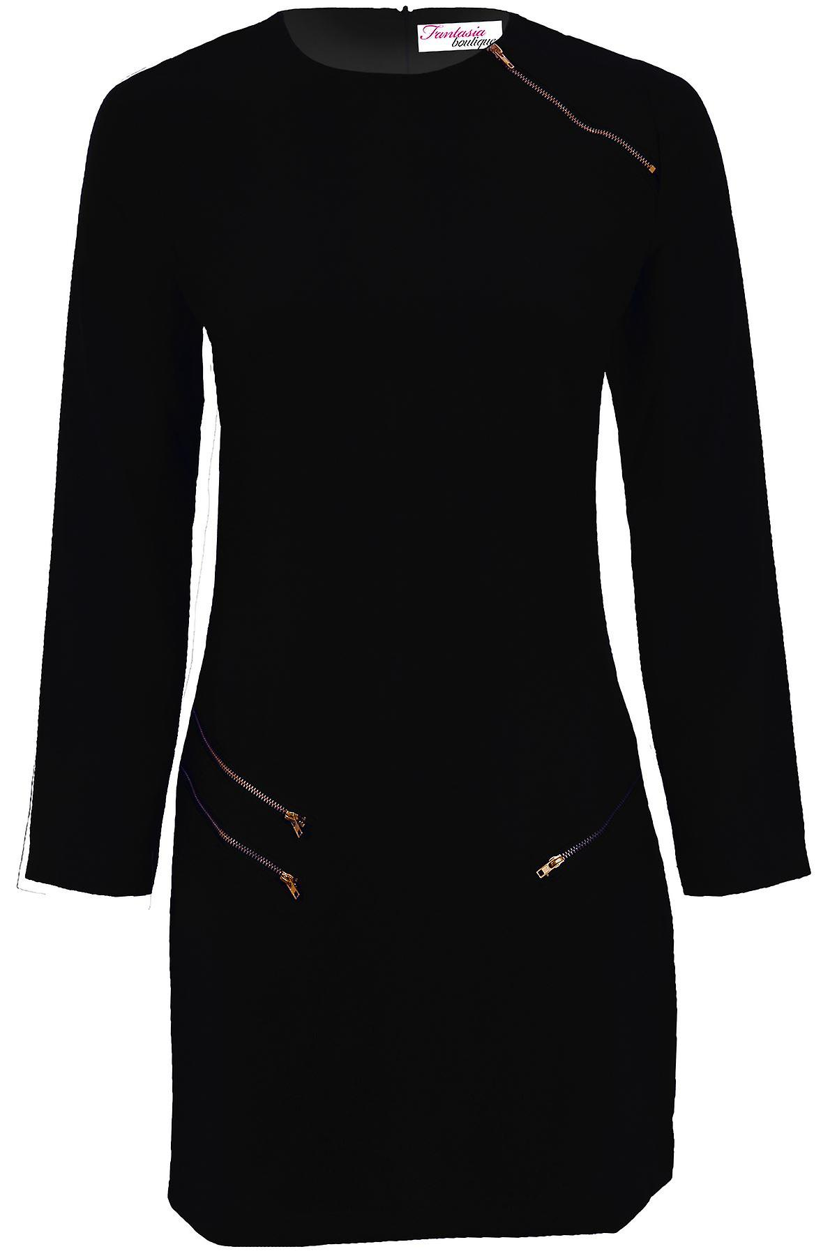 Ladies Long Sleeve Crepe Textured Gold Zip Smart Women's Fitted Party Dress