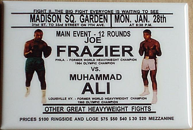 Joe Frazier v Muhammad Ali steel fridge magnet   (gf)