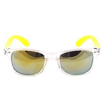Clear Frame Wayfarer Style Glasses with Mirrored Lens and Yellow Arm