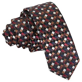 Black with Bronze, Silver and Red Chequered Geometric Skinny Tie