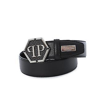 Cinturón de cuero de Philipp Plein negro