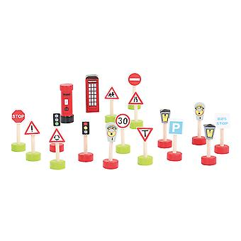 Bigjigs Rail Wooden Signs Accessory Pack Road and Railway Accessories Playset
