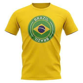 Camiseta Brasil insignia de fútbol (amarillo)