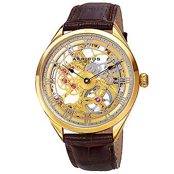 Akribos XXIV AK802YG Mechanical Skeleton Hand Wind Leather Strap Mens Watch