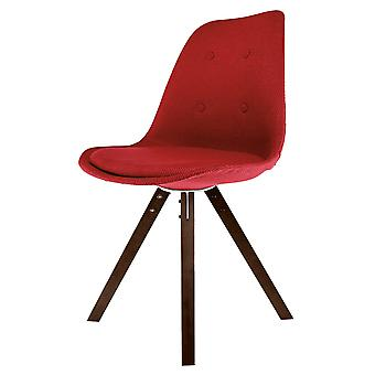 Fusion Living Eiffel Inspired Red Fabric Dining Chair With Square Pyramid Dark Wood Legs