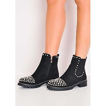 Studded Faux Suede Chelsea Ankle Boots Black