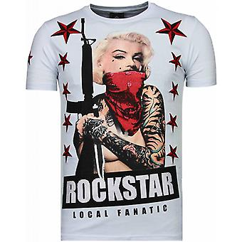 Marilyn Rockstar-strass T-shirt-vit