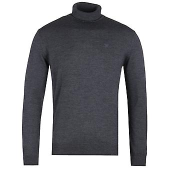 Emporio Armani Charcoal Grey Roll Neck Knit Sweater