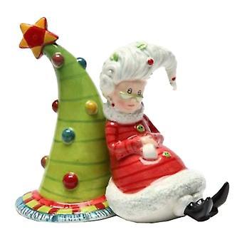 Sra. Claus esperando Navidad vuelta Santas vacaciones sal y pimienta coctelera