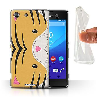 STUFF4 Gel/TPU Case/Cover for Sony Xperia M5/Tiger/Animal Stitch Effect