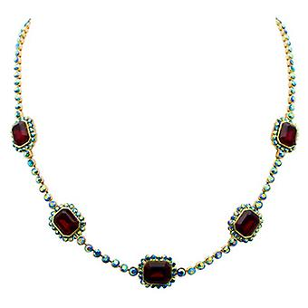 Butler & Wilson Mirror Stone on Round Crystal Chain Necklace Siam Red