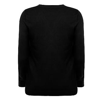 Black Long Sleeve Jumper With Lace Up Neckline