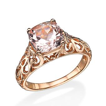 14K Rose Gold 2,00 CT naturlige fersken/Rosa VS Morganite ringen årgang Art Deco vin