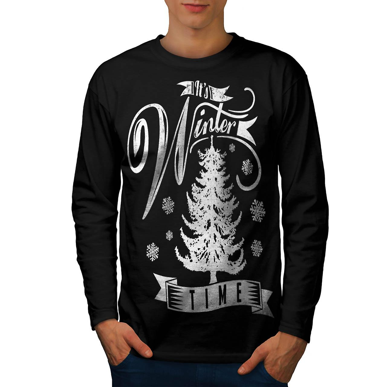 Winter Time Xmas Snow Frozen Fur Men Black Long Sleeve T-shirt | Wellcoda
