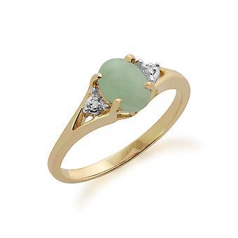 Gemondo 9ct Yellow Gold 0.94ct Green Jade & Diamond Ring
