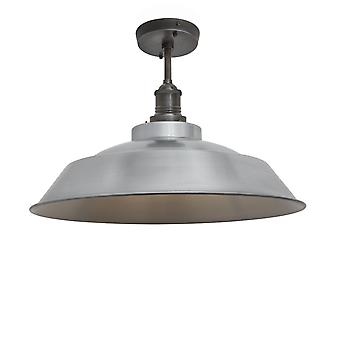 Brooklyn Vintage Step Metal Flush Mount Light - Light Pewter - 16