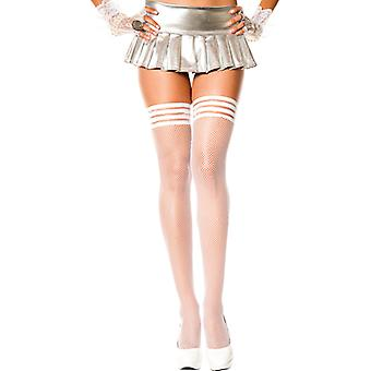 Plus Size Fine Fishnet Stockings With Ribbed Silicone Top-White