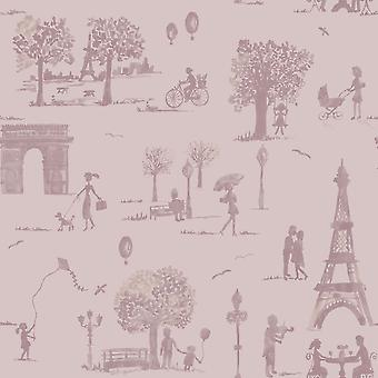 Holden Decor Paris French Toile Parisienne Pictures Trees Lilac Wallpaper