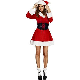 Fever collection hooded Santa dress petticoat with hood and belt size M