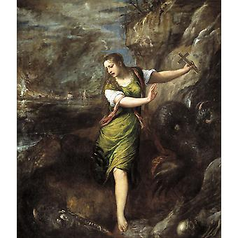 Titian - St margaret museo del prado madrid Poster Print Giclee