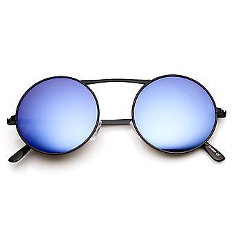 Klassisk metall høy Crossbar blå speil linse runde sirkelen solbriller