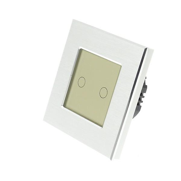 I LumoS Silver Brushed Aluminium 2 Gang 1 Way Touch Dimmer LED Light Switch Gold Insert