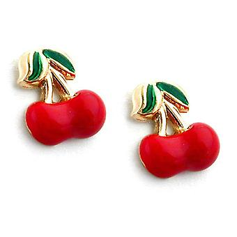 Studs children children's jewellery 375 gold plug, cherry pair, 9 KT GOLD