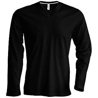 Kariban Mens Slim Fit Long Sleeve V Neck T-Shirt