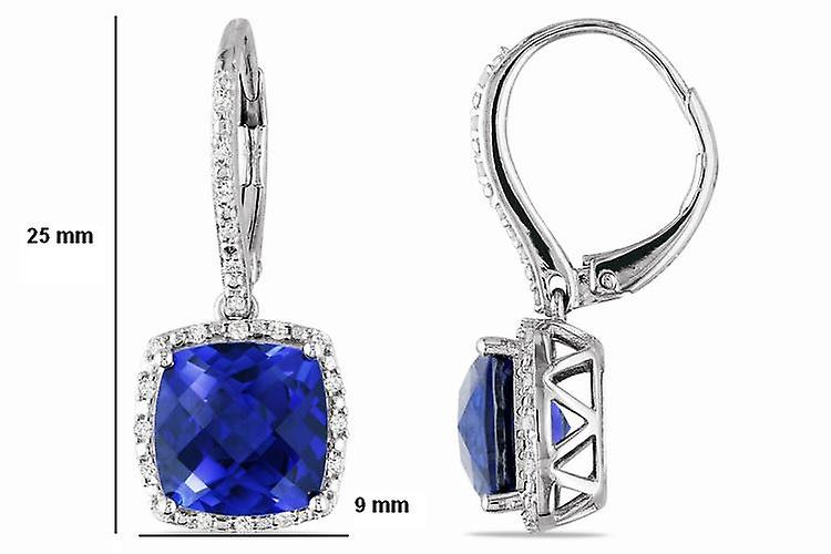 Affici Sterling Silver Drop Earrings  18ct White Gold Plated with Square Cut Sapphire CZ Gems