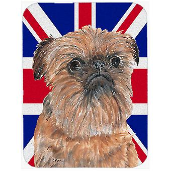 Brussels Griffon with Engish Union Jack British Flag Mouse Pad, Hot Pad or Trive