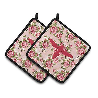 Yellow Jacket Shabby Chic Pink Roses  Pair of Pot Holders