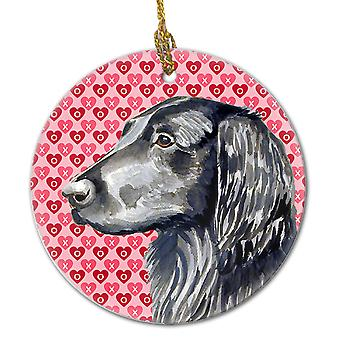 Flat Coated Retriever Valentine's Love and Hearts Ceramic Ornament