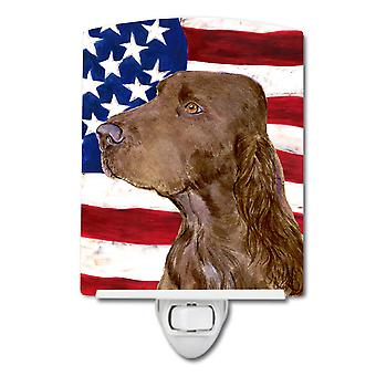 USA American Flag with Field Spaniel Ceramic Night Light