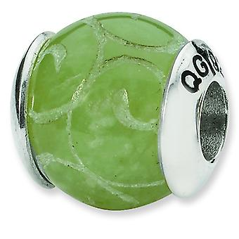 Sterling Silver Polished Antique finish Reflections Etched Dyed Jade Stone Bead Charm