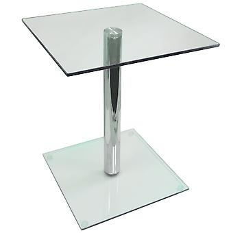 Column - Metal And Glass Side / End / Bedside Pedestal Table - Clear / Chrome