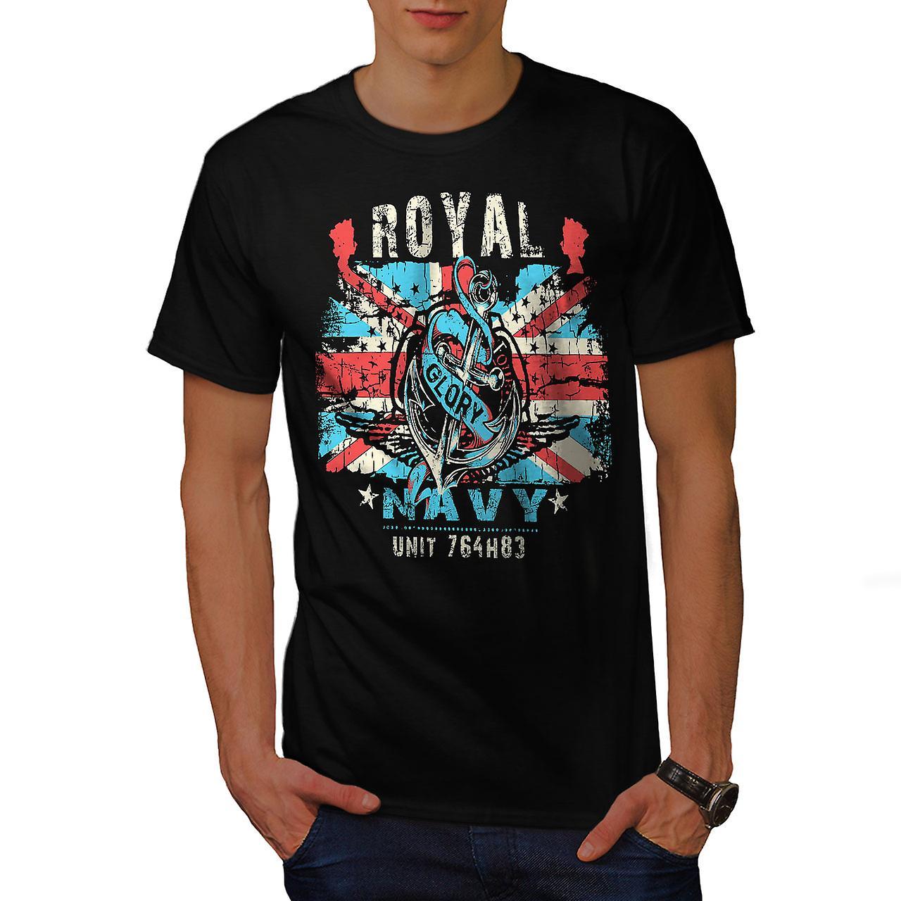 Royal Navy Glory UK Men Black T-shirt | Wellcoda
