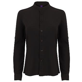 Henbury Womens/Ladies Mandarin Shirt With Roll-Tab Sleeves