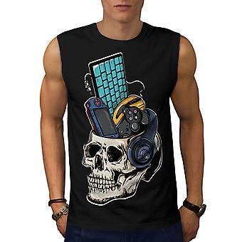 Camiseta de BlackSleeveless de los hombres de cráneo Juegos PC Geek | Wellcoda