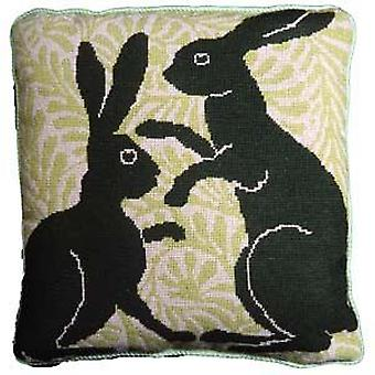 Green Boxing Hares Needlepoint Kit