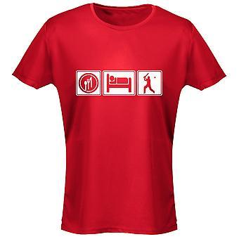 Eten slapen Cricket Womens T-Shirt 8 kleuren (8-20) door swagwear